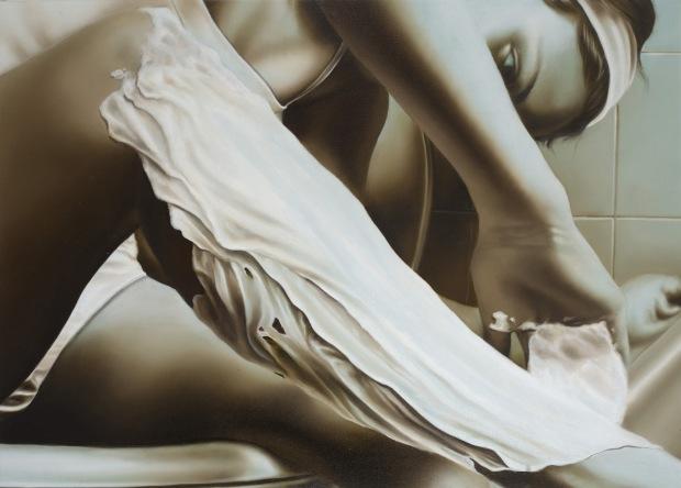 17-Giulia, depilazione, olio su tela, 50x70, 2004