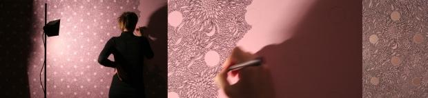 7- Mon Cheri, work in progress, acrilico e pennarellosu tela, 140x200, 2007