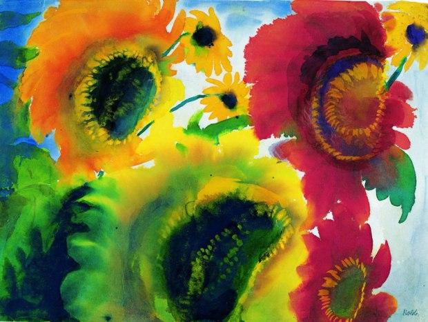 12-Nolde_Rote_und_gelbe_Sonnenblumen